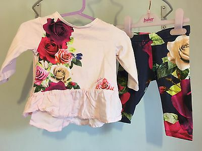 Baby Girls Designer Ted Baker Floral Rose  Outfit Top & Leggings 3-6m🌺