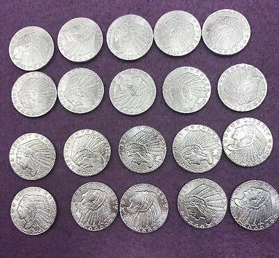 Lot of (20) 1929 .999 Fine Silver 1/10 Ounce Incuse Indian Design Rounds