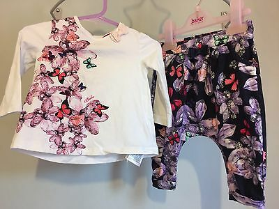 Baby Girls Designer Ted Baker Butterfly Jewels Outfit Top & Hareem Pants 3-6m🌺