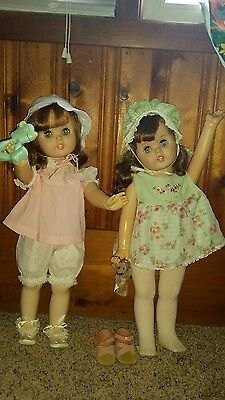 """2- 24"""" TOODLES DOLLS?1960 American Doll & Toy.  RARE  Follow Me Eyes. Adorable!"""
