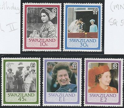 Swaziland Stamps 1986 60th Birthday of Queen Elizabeth II SG 500-504 (MNH)