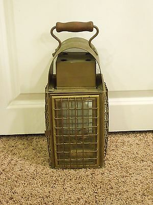 Vintage 1900's Wedge Brass Nautical Ship Boat Caged Oil Lantern