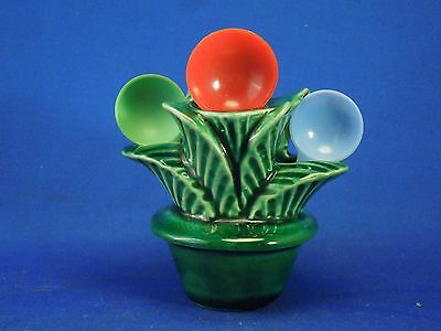 Vintage Ceramic Plant 3 Spoon Holder With Green Base Made By Morton Pottery