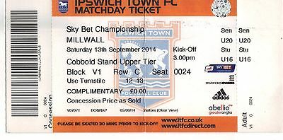 2014/15 Ipswich Town v Millwall - Used Ticket