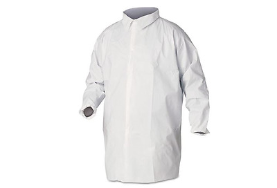A40 Liquid & Particle Protection Lab Coats - Knee Length, No Pockets, Large, 30