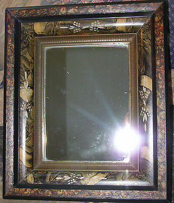 Antique 1880s Victorian Picture Frame w/ Mirror - 3 Tier Spoon Carved Woodgrain