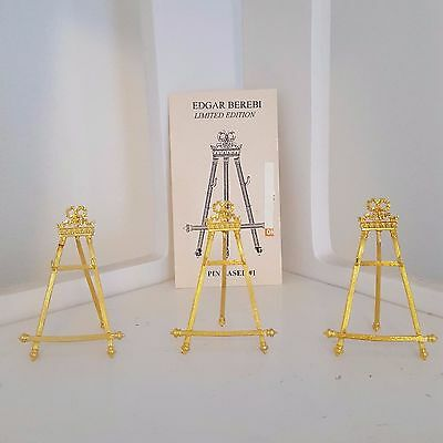 Limited Edition Edgar Berebi Gold Pin Easels Brooch Display Easel-Set of Three