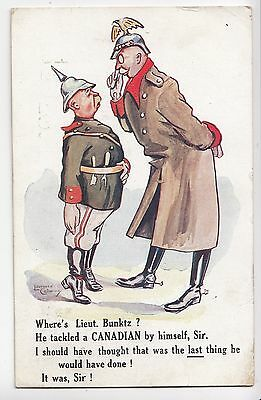 He Tackled a CANADIAN by Himself? 1917 Comic Postcard sent Home by C.E.F. Sapper
