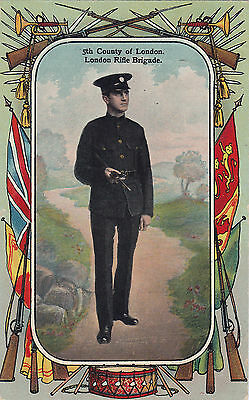 British Army 5th County of London London Rifle Brigade 1913 Patriotic Postcard