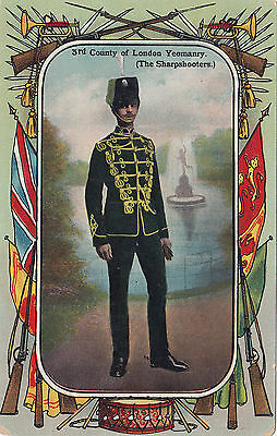 British Army 3rd County of London Yeomanry (Sharpshooters) 1908-13 Patriotic PC