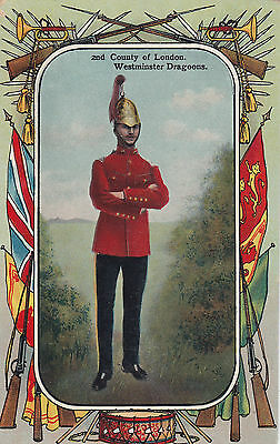 British Army 2nd County of London Westminster Dragoon 1908-15 Patriotic Postcard