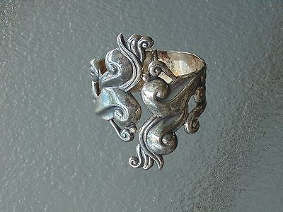 Nice Vintage Lopez Taxco Mexico Mexican Sterling Silver Big Cuff Bracelet