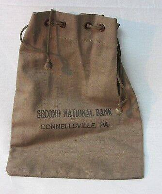 Vintage Second National Bank Connellsville PA Money Change Cloth Bag w/ Pull Tie