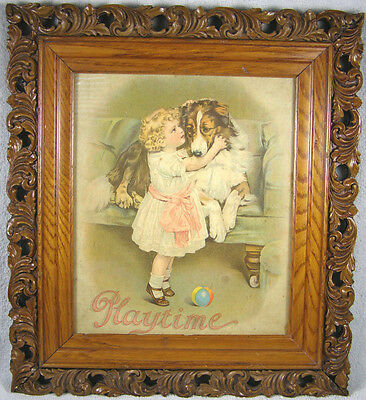 Antique Picture Frame with Carved Wood Edge - Framed Antique Print