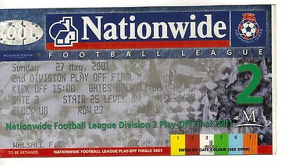 2001 Division 2 Play Off Final - Walsall v Reading - Used Ticket