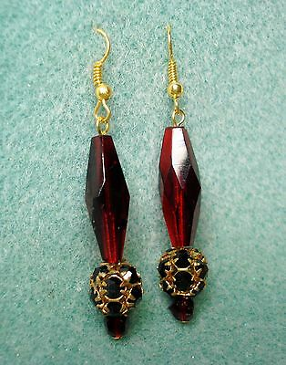 Victorian Vintage Dangle Pierced Earrings Red Garnet Color Pressed Glass Black