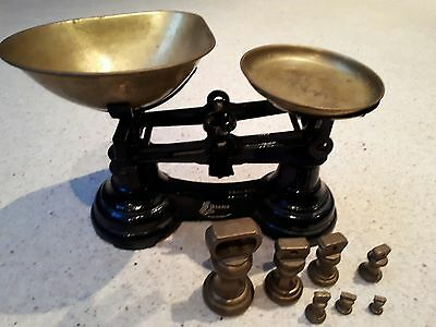 Black Librasco Vintage Cast Iron Kitchen Scales with 7 Brass Bell Weights