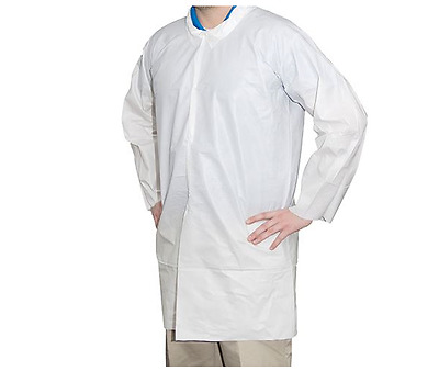 Hospeco Breathable Liquid and Particle Protection Lab Coat - Large (30 Count)