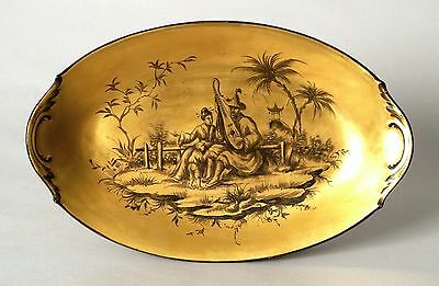 Excellent Antique French Porcelain Chinoiserie Chinese Painted Dish Plate