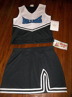 Bulldogs Cheerleader Uniforms/Costumes, 28 pcs, Black/White/Blue, New With Tags