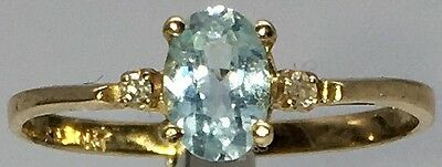 .69 CT Oval Genuine Blue Topaz & Diamond Accent 10KT Yellow Gold Ring Size 7