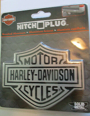 New HARLEY DAVIDSON Shield Logo Hitch Plug Cover Solid Metal Brushed Aluminum