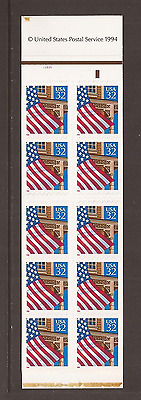 Below Face ~ 2921a BK228 32c Flag over Porch Booklet Pane of 20 Plate #21221