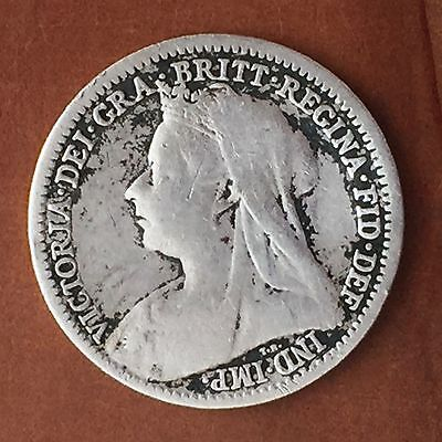 UK / Great Britain 3d Threepence 1900, Victoria - F, Silver