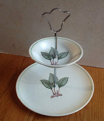 Vintage Royal Worcester Palissy Two Tier Leaf Cake Stand