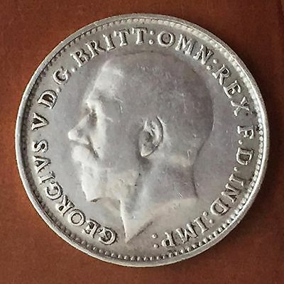UK / Great Britain 3d Threepence 1916, George V - F, Silver