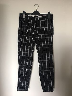 H&M Checked Black & White Trousers UK Women's Size 10