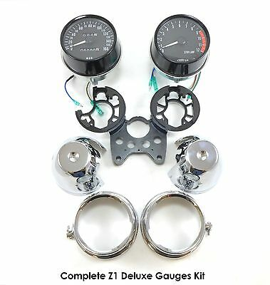 Kawasaki Tach Speedo Meter Gauge Assembly Cluster with Chrome Covers Kit Z1 900