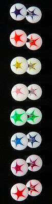 T#174 - 27pc White w/Star UV Acrylic Tongue Rings 14g Tounge