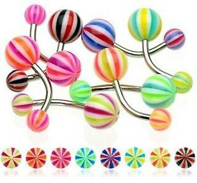 B#268 - 27pc Candy Striped UV Acrylic Belly Rings 14g Navel Naval