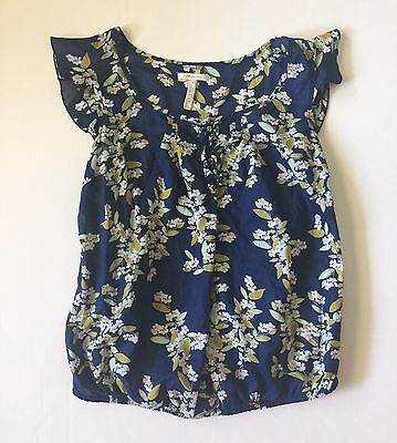 Old Navy Maternity Floral Top - Navy with green, white - size Small