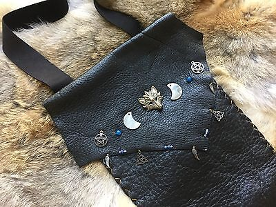 Medicine Pouch - Wolf Moon -handmade leather wiccan earth pagan native shaman