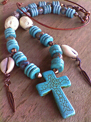 Turquoise cross pendant beads Crazy Lace gemstone copper adj. leather necklace