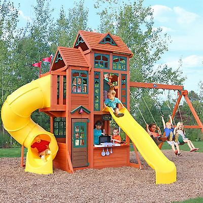 Wow! Children's Outdoor Climbing Playhouse/Treehouse Set Slides/Swings Wooden