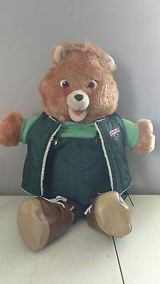 Vintage 1985 - Teddy Ruxpin Bear With Green Hiking Outfit