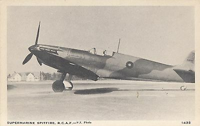 Royal Canadian Air Force Supermarine Spitfire Fighter Plane WWII C.L.C. Postcard