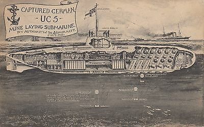 Captured German UC5 Mine Laying Submarine 1916 Admiralty LONDON UK Postcard