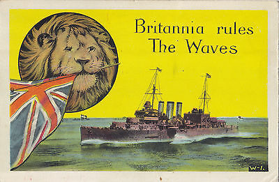 """Britannia Rules the Waves"" 1941 Patriotic Postcard from Military Camp DEBERT NS"