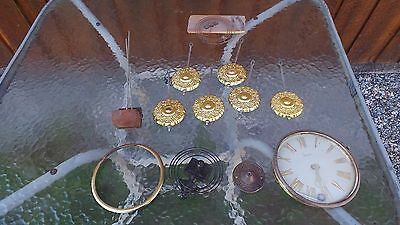 Vintage Brass Clock Pieces for Parts or Repairs #4