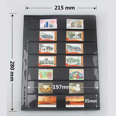 5x 7 Pocket Black Double Side Currency Paper Stamp Protector Insert Page Sheets
