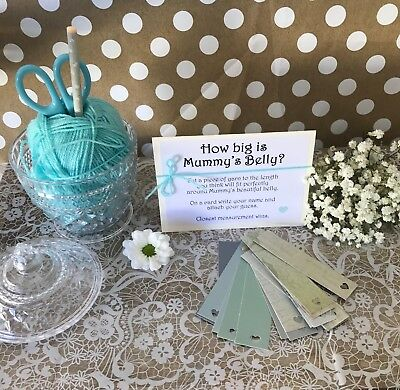 Baby Shower Game : How Big Is Mummy's Belly ? Tummy Boy Blue Floral party Tags