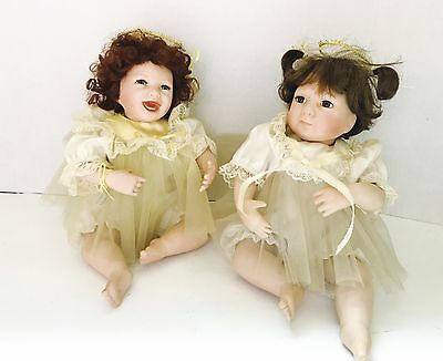 "Vtg Set Of 2 Julie Good-Kruger Ashton Drake Angel 10"" Sitting Porcelain Dolls"