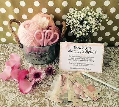 Baby Shower Game : How Big Is Mummy's Belly ? Tummy Girl Pink Floral party Tags