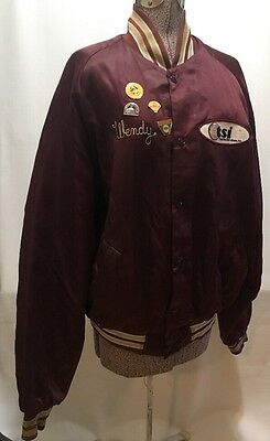 Softball Dugout Jacket Maroon Wendy Patches Pins Thermal Services Thunderbird XL