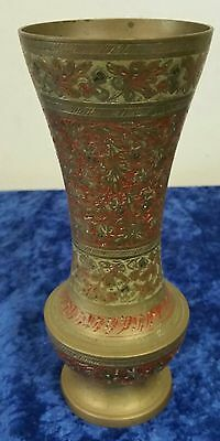 Vintage/ India -Brass etched Decorative Vase - Red