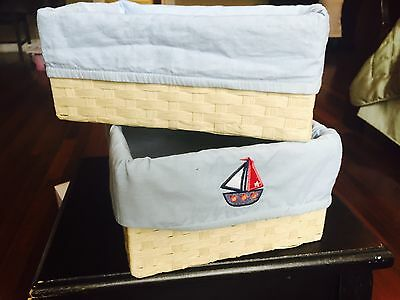 Set Of 2 Nursery Baskets With Sailing Boat.